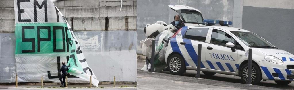 Polícia remove tarja da Juve Leo em apoio à equipa do Sporting, antes do dérbi.