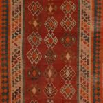 Kilim Red Runner Flat Woven 4 5 X 8 7 Area Rug 100 110801