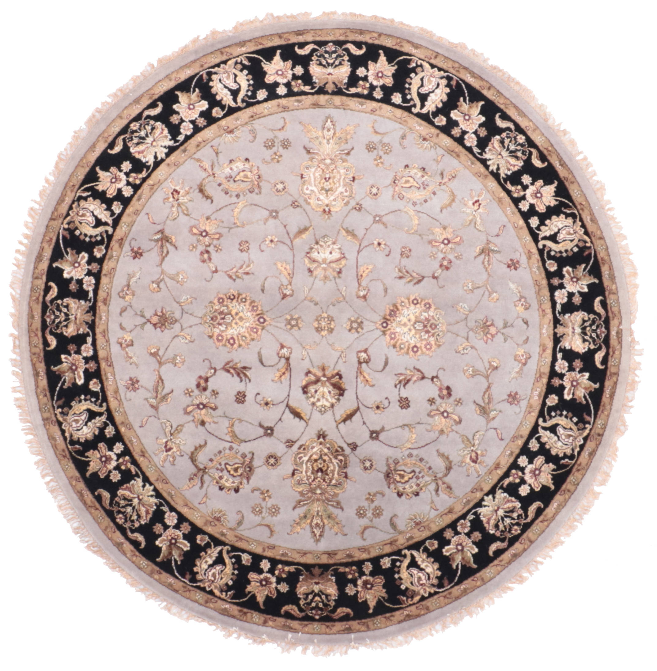Indian Jaipur Blue Round 7 To 8 Ft Wool And Raised Silk Carpet 135657 Sku 135657