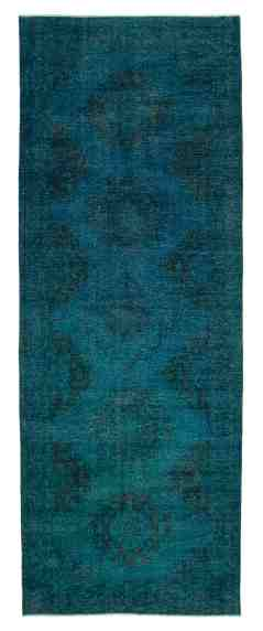 5x13 Turquoise Kitchen Entry Overdyed Runner Rug 2270