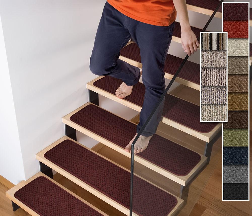 Set Of 12 Tape Down Carpet Stair Treads 4 Sizes 18 Colors Rug | Outdoor Carpet Stair Treads | Indoor Outdoor | Flooring | Ottomanson Jardin | Non Skid | Anti Slip
