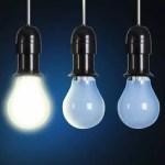 Photo: A Bright light-bulb amongst dull bulbs.