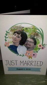 A card that reads Just Married with a picture of Kate and David Chapple.