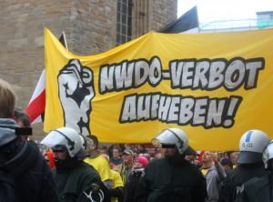 Demonstration gegen das Verbot der freien Kameradschaft NWDO