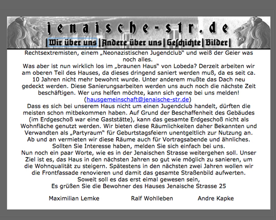 Website des braunen Haus in Jena, Screenshot Ulrike Märkel
