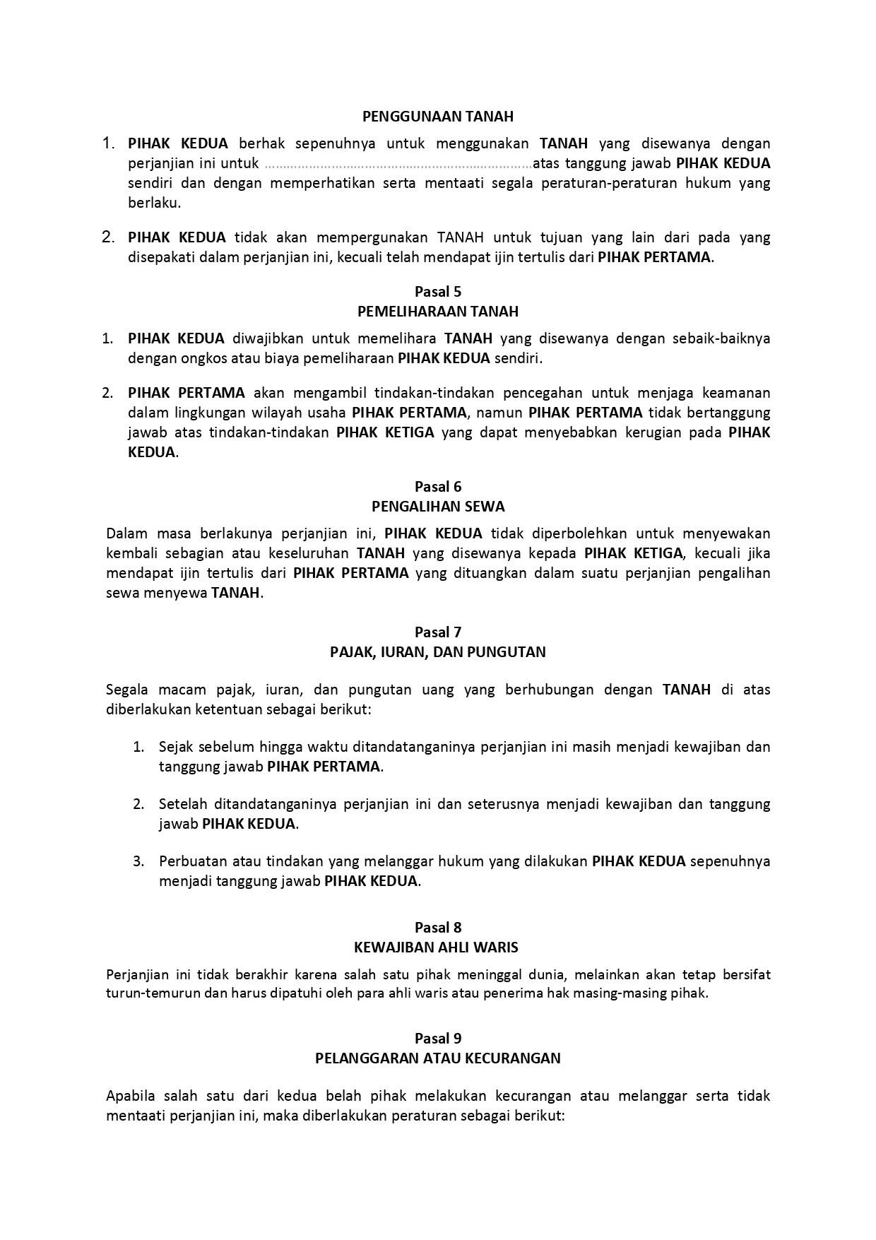 Pengertian dan Contoh Surat Perjanjian Sewa Tanah