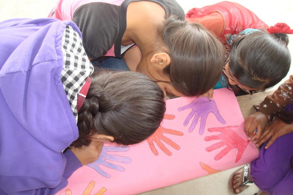 LitClub members enjoying the hand drawing activity.