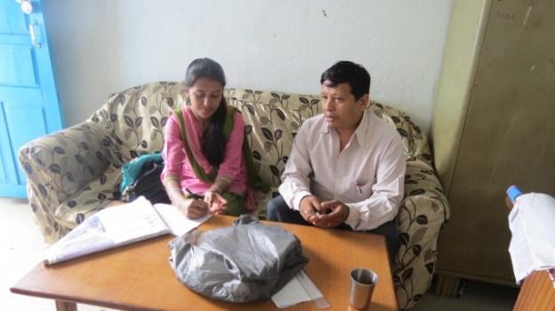 Rashmita Meeting Rajesh Shrestha Vice Principal of Pharping Higher Secondary School