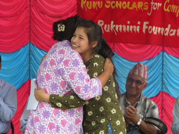 Scholar Junu Hugs Pushpa Didi