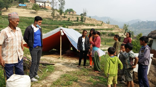 observing tent and living condition of Anjus family_2 family are livig under this tent