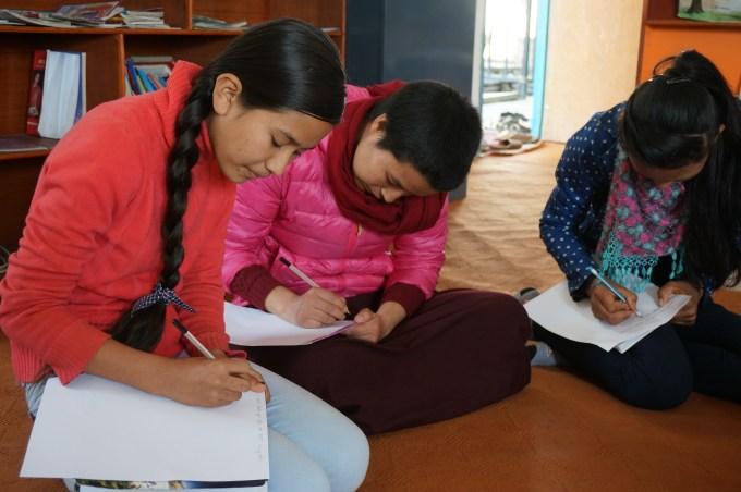 Sadikshya K.C and Tsultrim -doing group work