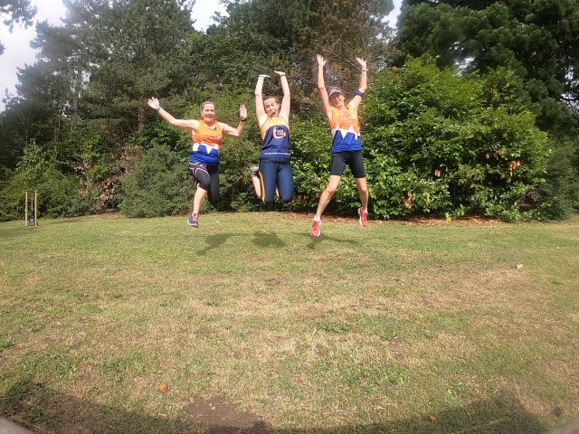 3 ladies jumping