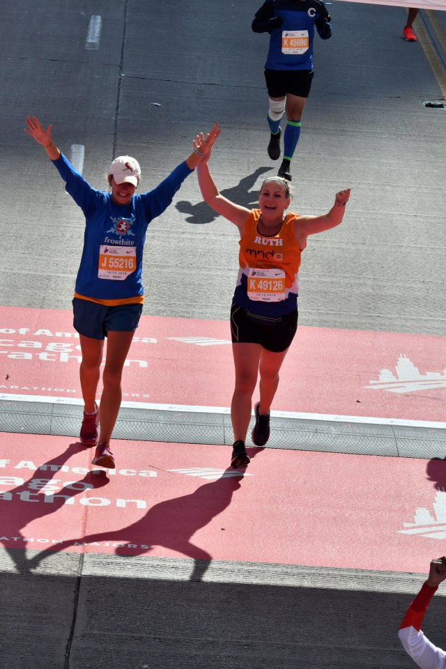Finishing the Chicago Marathon.
