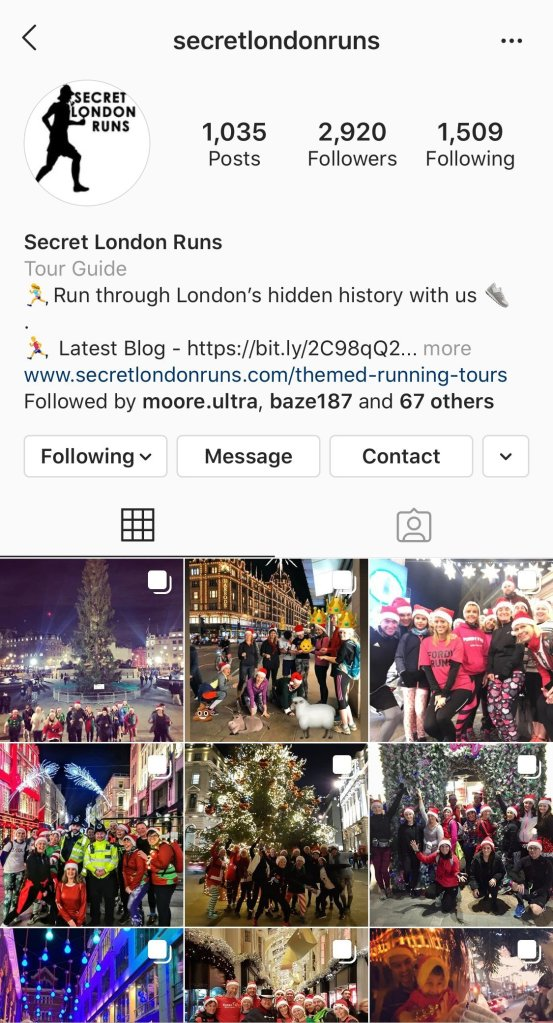 Secret London Runs Instagram Page. Friday Find