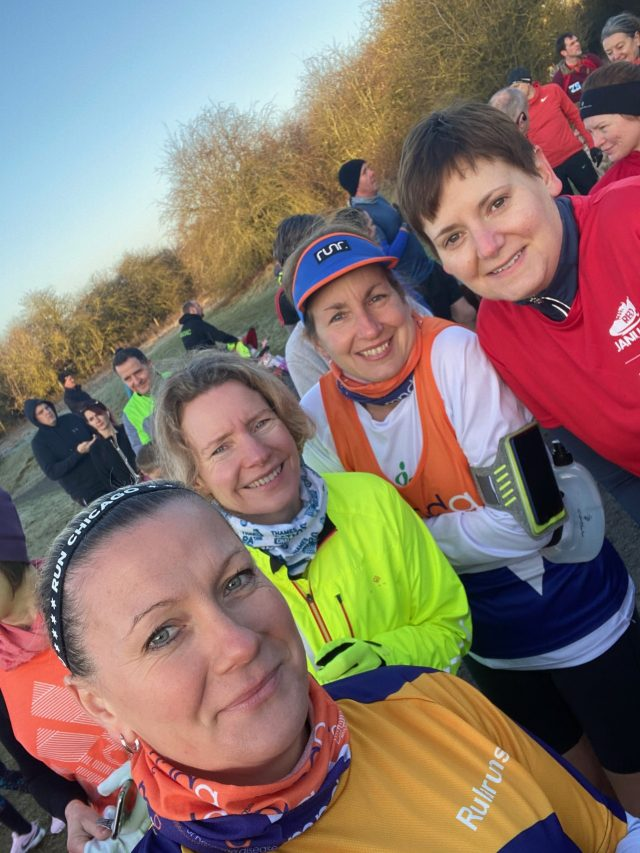 Girl gang prior to the start of Irchester Parkrun.