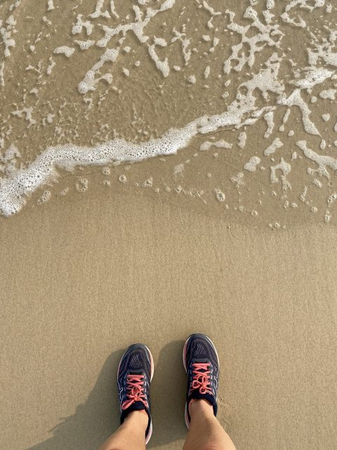 Trainers and sea
