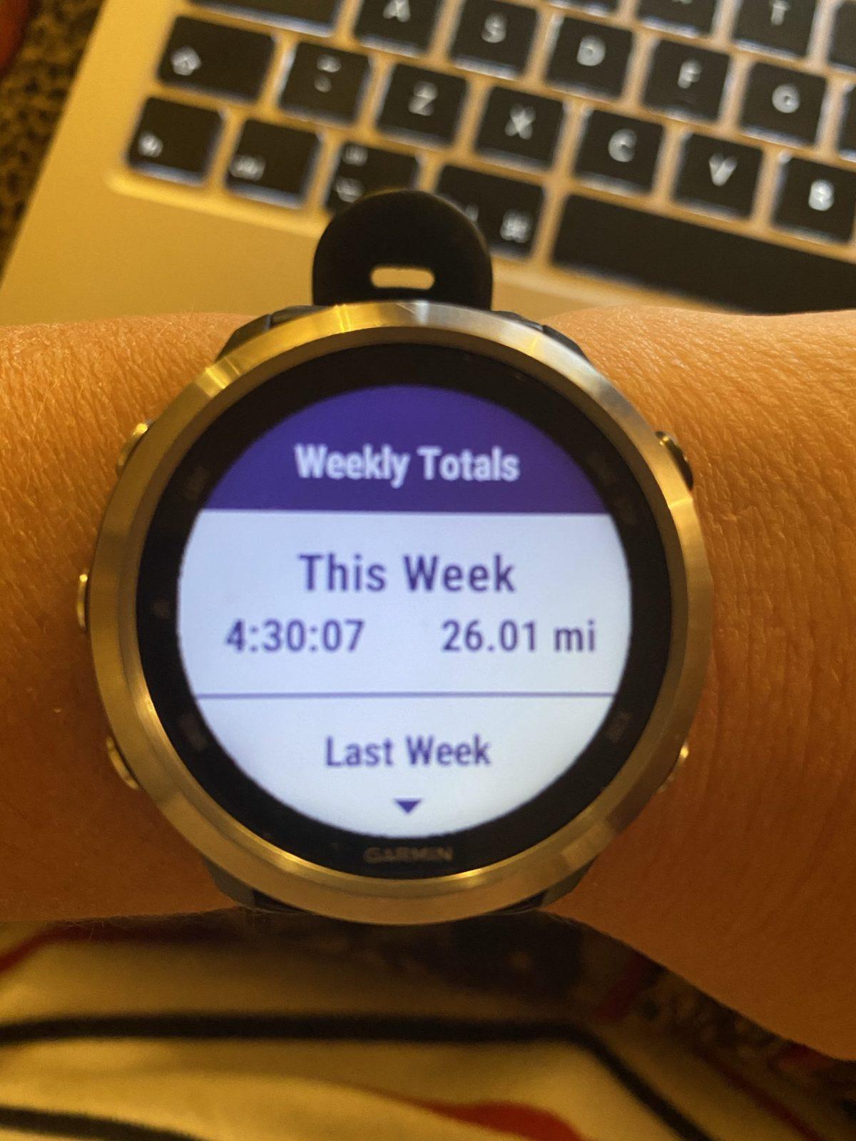 Garmin showing weekly mileage from week 2 of Manchester Marathon.