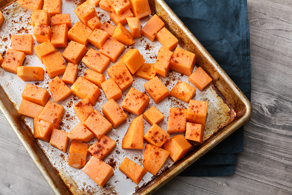Diced pumpkin seasoned with spices.