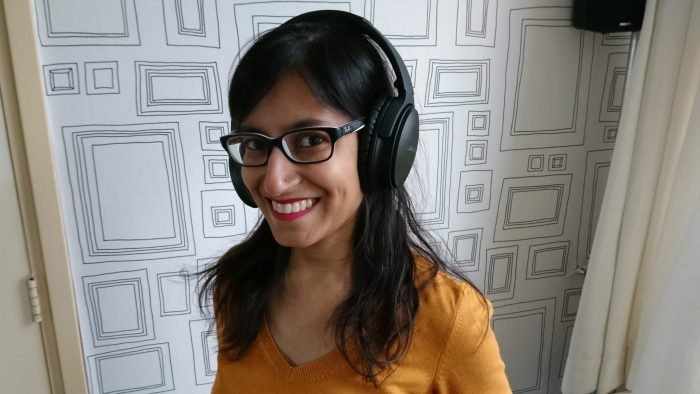 De Bose QuietComfort 35 Wireless II op mijn hoofd.