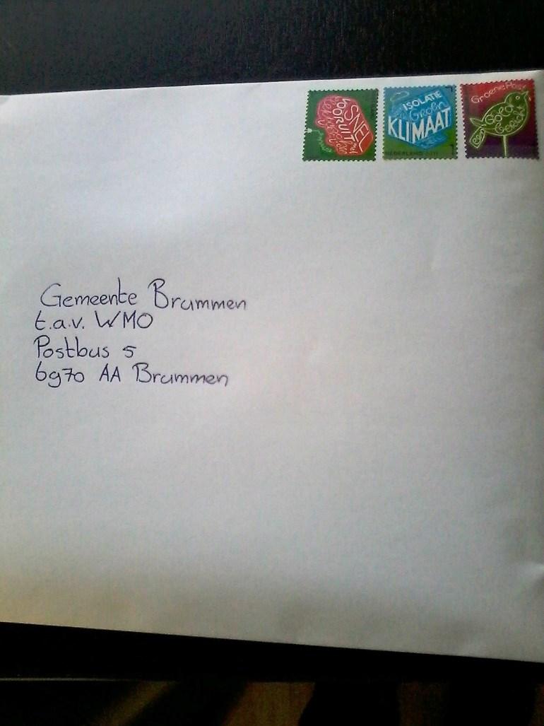 WMO aanvraag in envelop