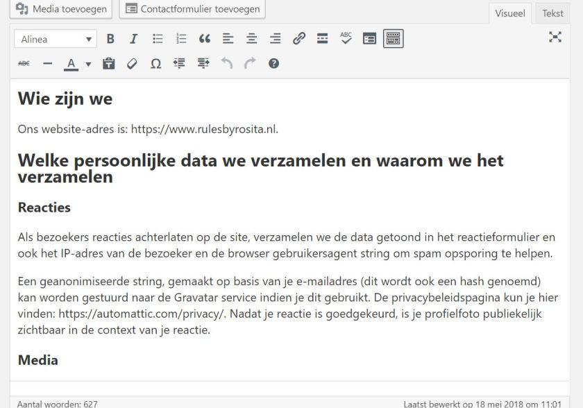 Sjabloon van een Privacybeleid in WordPress.
