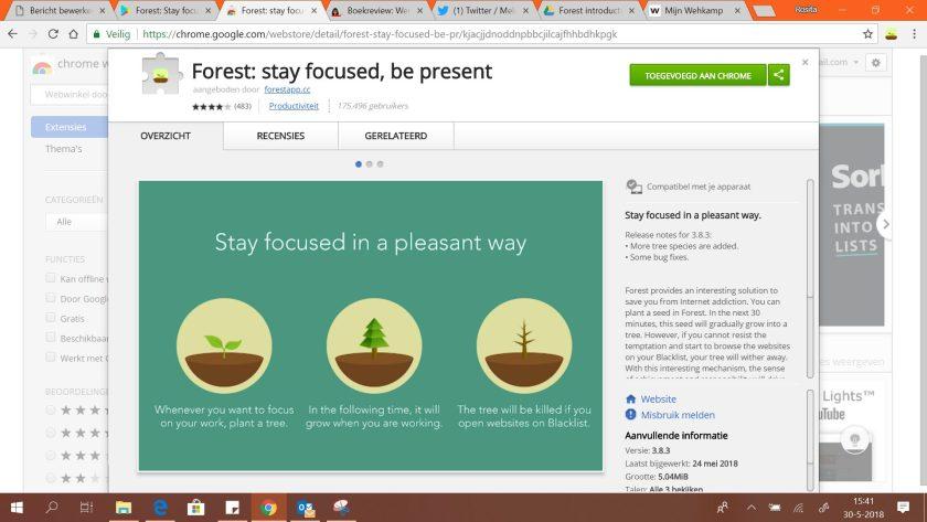 De extentie in de webstore van Chrome.