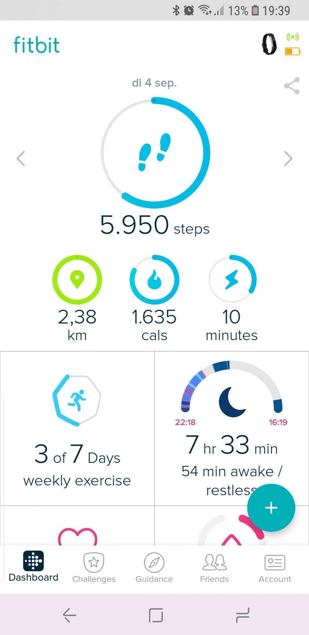 Dagelijks overzicht van je stappen en andere gegevens.