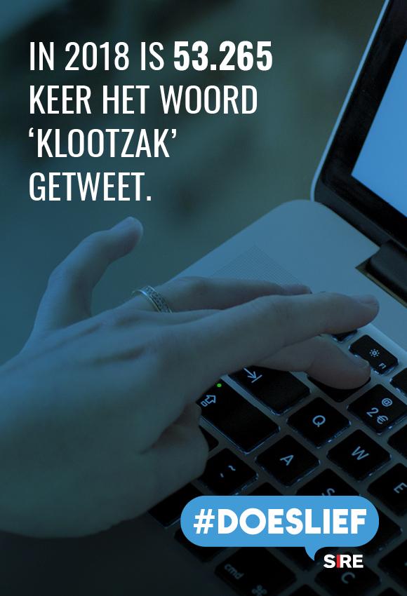 In 2018 is 53.265 keer het woord 'klootzak' getweet. #doeslief
