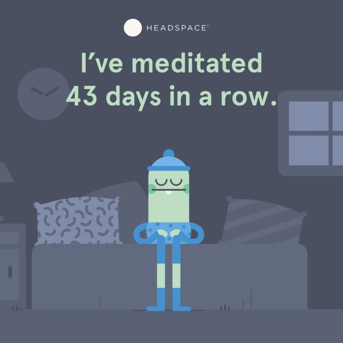 I've meditated 43 days in a row. Afbeelding van Headspace. Een van mijn nieuwe gewoontes is elke dag mediteren.