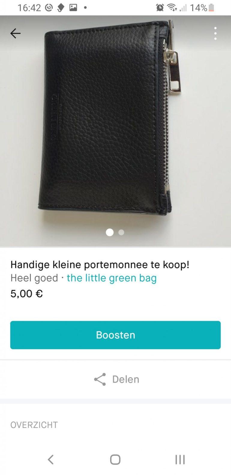 Mijn portemonnee staat nog steeds te koop op Vinted.
