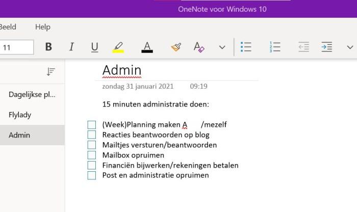 Mijn 15 minuten administratie-lijstje in OneNote