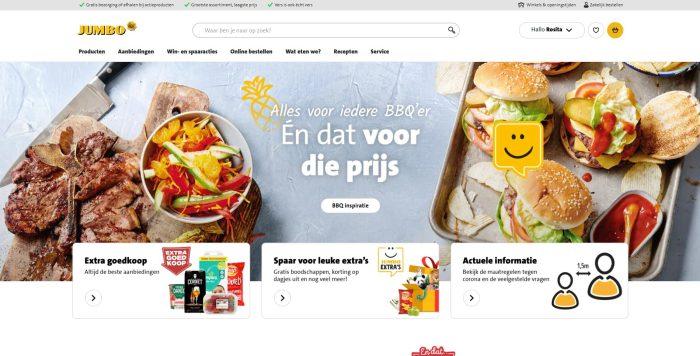 De website van Jumbo, hier kun je online boodschappen doen