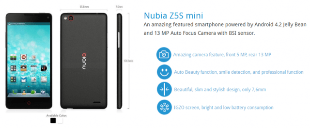 ZTE Nubia Z5S Mini-Screen