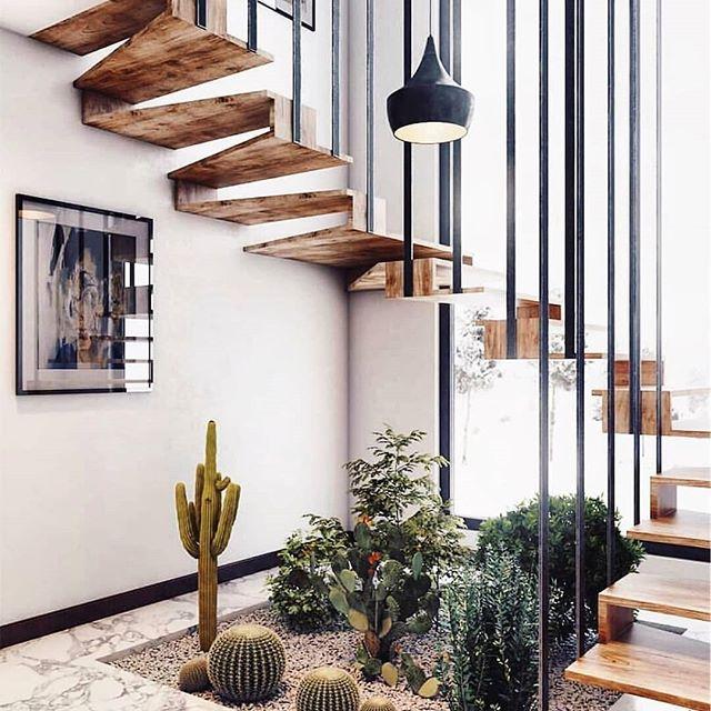 Design tangga kayu kombinasi besi yang unik