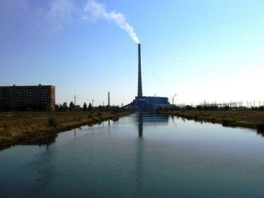 The chimney of GRES-2 Power Station; Ekibastuz, Kazakhstan