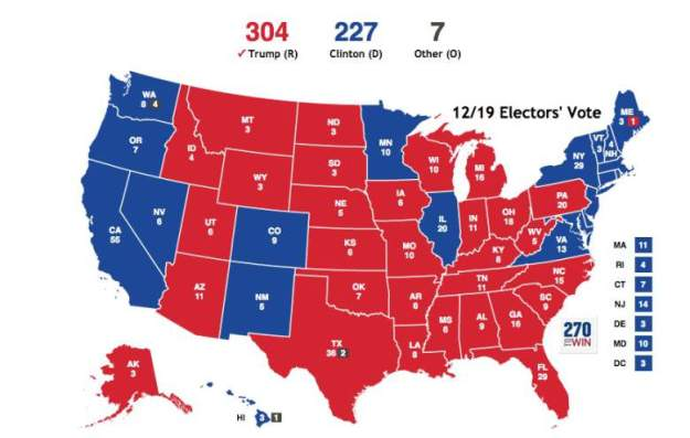 Electoral College Vote Results: State-by-State List December 19, 2016 with Trump 304, Clinton 227, Other 7