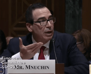 Mr. Mnuchin is frustrated in having questions asked with no chance to explain.