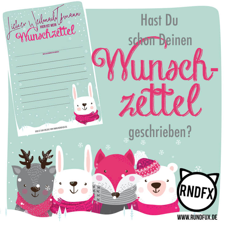 Wunschzettel Freebie Rundfux.com