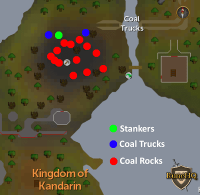 Coal Trucks Mine Map   RuneScape Guide   RuneHQ Coal Trucks Mine Map