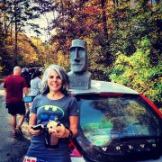Karen with the Moai - Photo by Bren Tompkins
