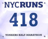 Finished in 1:45:05, pace 8:01 — at YONKERS N.Y