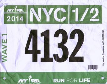NYC Half Marathon 2014 Finish in 1:35:52, - at NYC.