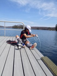 Me, filling up our water supplies - Photograph by Jessica Woods
