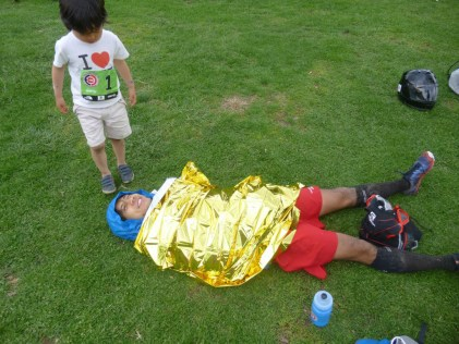 Chang's son tried to figure out what about this alien on the ground - photo by Elaine