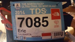 TDS 2014 120 km 7250 m. Finish in 28:32:00, overall place #550— at Mont Blanc.