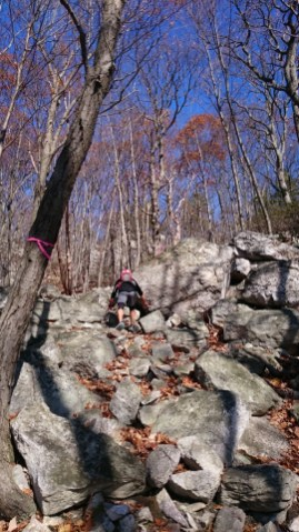 The hike to the top of the Gunks crux
