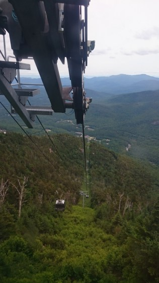 Whiteface mountain sloop from inside the Gondola