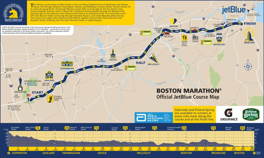ruta maraton de boston 2016 mapa hearbreak hill boyslton
