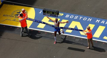 Atletas elite en el Maratón de Boston 2017