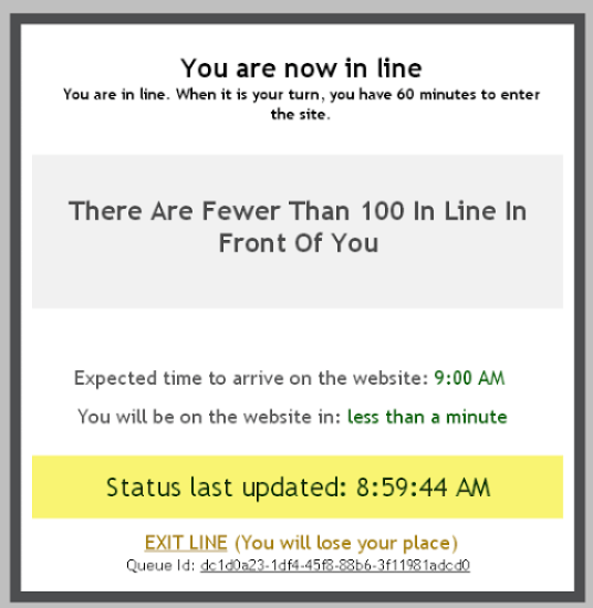 You are now in line